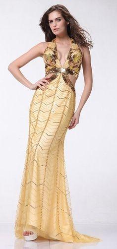Gold Sequined Dress Halter Deep V Neck Bead Bodice Overlay Open Back $299.99