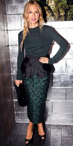 Rachel Zoe in an embellished peplum skirt with a tee by Marc Jacobs