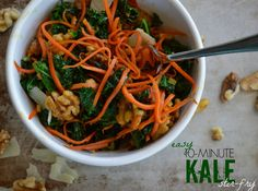 This+easy, 10-minute+Ginger+Kale+Stir+Fry+is+bright+and+colorful,