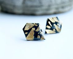 Black diamond gold flakes clay studs earrings by InviolaJewerly