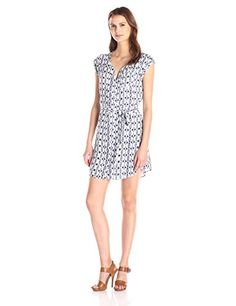 Jack by BB Dakota Womens Lottie Inkblot Stripe Printed Crepe Shirtdress Multi Large * You can get more details by clicking on the image.
