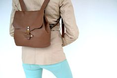 Pale brown backpack / Genuine Italian leather bag by AnaKoutsi