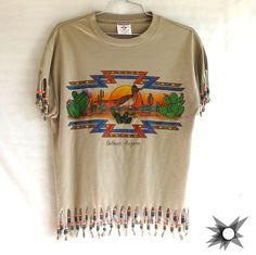 Vintage 1980's Southwestern Fringed Beaded ArizonaT-shirt Size Small/Medium by SatelliteVintageCo on Etsy