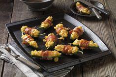 Velveeta Mac n Cheese Jalapeno Poppers. Wrapped in bacon? Yes please!