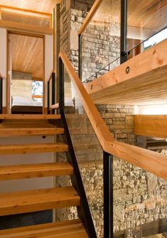 A Collection Of Amazing Staircase Design Ideas : Cool Wooden Staircase Design in Awesome Nature Stone Walls Interior Decorating Wooden Staircase Design, Interior Staircase, Wood Staircase, Wooden Stairs, Modern Staircase, Wood Design, Cabinet D Architecture, Stairs Architecture, Amazing Architecture