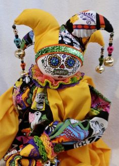 LIMITED EDITION One of a Kind Elegant Collectible Court Jester Clown - El Dia de la Muerte - The Day of the Dead & Matching Jewel Earrings Jester Hat, Court Jester, Day Of The Dead, Elegant, Jewel, Dolls, Collection, Earrings, Products