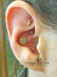 Marissa chose a lovely Angela from BVLA for her conch piercing. 14k yellow gold with turquoise.   She also picked out a cute Anatometal yellow gold Sabrina for her healed rook we pierced a little over a year ago.   @vaughnbodyarts Monterey, CA