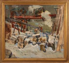 Louis' by an artist's label on the reverse, signed with artist's monogram lower left an. on Dec 2014 Fine Art Auctions, Rivers, St Louis, December, Industrial, Scene, History, Artist, Painting