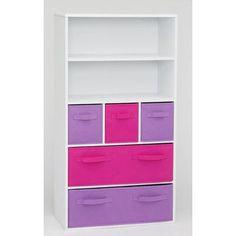 "4D Concepts Storage 47.3"" Bookcase Finish: White / Pink / Purple"