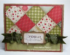 made by nicoletta: Diagonal DP quilt card (good for scraps) love this