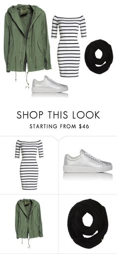 Weekend outfit: green parka + black stripes dress + light silver sneakers + black scarf