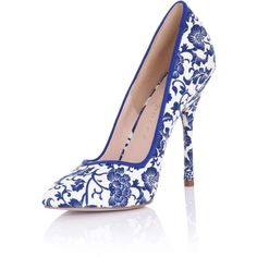 **Paper Dolls 'Blossom' Court Shoes ($75) ❤ liked on Polyvore featuring shoes, pumps, blue, blue high heel shoes, blue shoes, blue flower shoes, blossom shoes and blue pumps