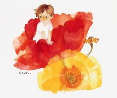 "illustration by Chihiro Iwasaki (1918-1974)...Chihiro Iwasaki was a Japanese artist and illustrator best known for her water-colored illustrations of flowers and children, the theme of which was ""the happiness of children and peace""."
