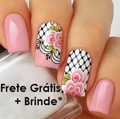 Unhas decoradas 2017 - flor e xadrez Spring Nails, Summer Nails, Glitter Make Up, Manicure E Pedicure, Flower Nails, Nails Inspiration, Pretty Nails, Hair And Nails, Nail Art Designs