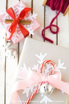 Snowflake Christmas Gift Wrapping. Winter packaging.