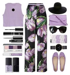 """""""Floral Pants"""" by juliehalloran ❤ liked on Polyvore featuring Dolce&Gabbana, Paolo Simonini, Vera Bradley, Chanel, Carven, Myku, Clinique, NARS Cosmetics, MAKE UP FOR EVER and Eugenia Kim"""