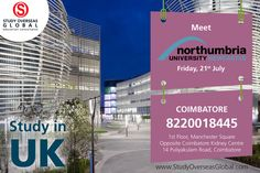 Northumbria University Newcastle is visiting today (21st July 2017) at Coimbatore. Visit: http://studyoverseasglobal.com/ for details. #StudyOverseas #UniversityVisit