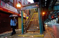 A view of a closed New York City subway station as the beginning effects of Hurricane Sandy are felt in Brooklyn. The subway system has never faced 'such a devastating disaster'