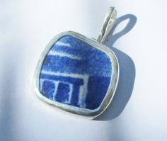 Broken China Necklace Pendant  Chaney Sterling Abstract Blue  Pendant by MaroonedJewelry on Etsy