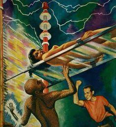 Secret Of The Martians - Cover Illustration featured on Imagination Science Fiction magazine, February 1956. Artist: Lloyd Rognan