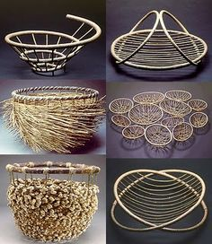 Markku Kosonen - Different Ideas Bamboo Weaving, Willow Weaving, Weaving Art, Basket Weaving, Wire Basket, Rattan, Wicker, Contemporary Baskets, Diy And Crafts
