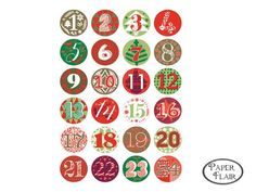 Buttons Adventskalender Zahlen