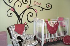 Swirls and flowers painted on the wall. Love this!