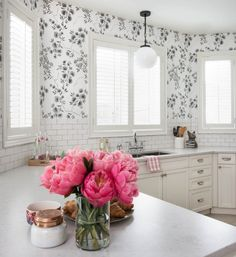 Prettying Up Kitchen featuring Silestone Lagoon counterops in the Suede finish.