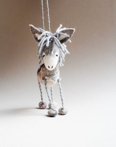 Serafima Felt Donkey. Art Toy. Felted Toys. by TwoSadDonkeys