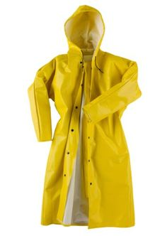 "Neese 56AC Ribbed PVC/Polyester Dura Quilt 56 Rain Coat with Attached Hood, 48"" Length, 2X-Large, Yellow General General"