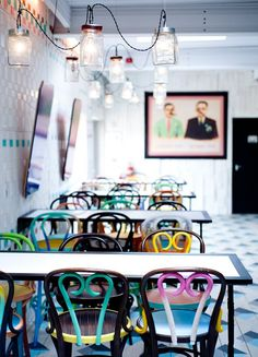 love any and all interiors/exteriors that incorporate multi-colored painted flea market chairs. (Dishoom Chowpatty Beach Pop-Up / Southbank London)