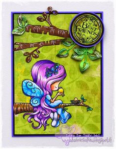 "Tiddly Inks stamp "" Fairy Tenderhearted"" coloured with Pablo pencils by L'Universo di Eu"