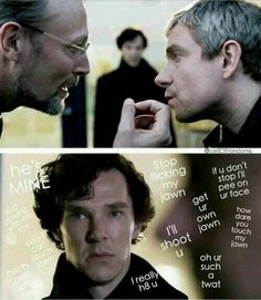 I was wondering why didn't John just blow up and hit him. Was Sherlock actually calculating for that? Did Sherlock want John to hit him? Or, John being a good soldier, do exactly as Sherlock commanded. Does John see Sherlock as his commanding officer? Sherlock Bbc, Sherlock Fandom, Johnlock, Martin Freeman, Benedict Cumberbatch, His Last Vow, Vatican Cameos, Benedict And Martin, Mrs Hudson