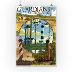 Outer Banks, North Carolina - Guardians of the Atlantic Lighthouses - Lantern Press Artwork (9x12 Art Print, Wall Decor Travel Poster)
