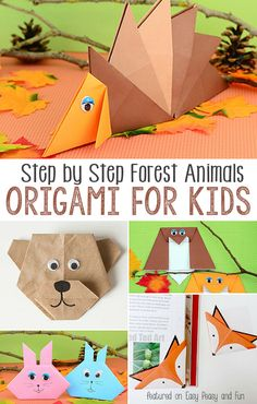 Forest Animals Origami For Kids - A bunch of lovely easy to follow step by step instructions