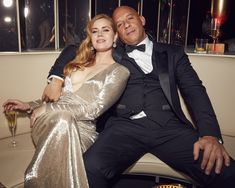 Amy Adams and Vin Diesel at the 2017 Vanity Fair Oscar Party / glamour.