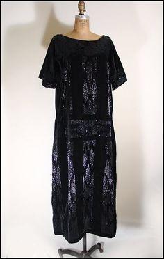 1920s velvet dress with Art Deco motif beading