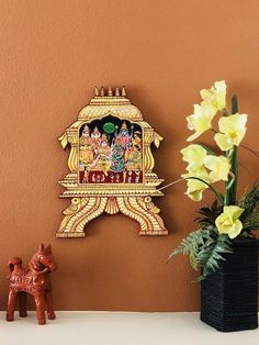 Items similar to Beautiful Ganesh Home decor Tanjore painting wood wall panels - vinayagar indian gift painting ethnic home decor on Etsy