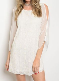 Nice Awesome Split Long Sleeve Eyelet A Line Lace Cotton Shift Summer Wedding Guest Dresses