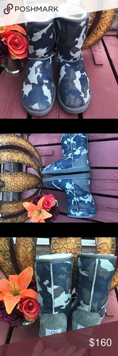 **RARE*** LIMITED EDITION grey/blue camouflage These VERY RARE UGGs were only produced for a few months❣️ The limited addition camouflage is a light blue grayish color. In perfect condition and never worn outside❣️❣️ A must have for any UGG lover!! UGG Shoes