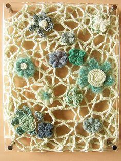 room accessory - free form crochet framed and used a decor. by am tm mitsuko… Freeform Crochet, Irish Crochet, Crochet Stitches, Knit Crochet, Room Accessories, Crochet Accessories, Bruges Lace, Crochet Projects, Crochet Ideas