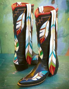 Long Feather Boots. ROCKETBUSTER HANDMADE CUSTOM BOOTS, The Official Website   wings & feathers