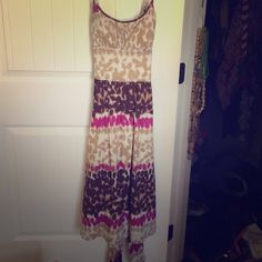 Multi colored print midi dress Size 2 Max and Cleo print dress. This dress is lightly padded with a back zipper and tie. Super cute! Max & Cleo Dresses Midi