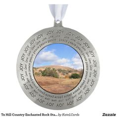 Tx Hill Country Enchanted Rock State Natural Area Round Pewter Christmas Ornament