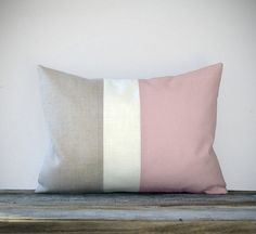 Pastel Pink Color Block Decorative Pillow with Cream and Natural Linen Stripes by JillianReneDecor Spring Home Decor - Girls Bedroom Nursery. $45.00, via Etsy.
