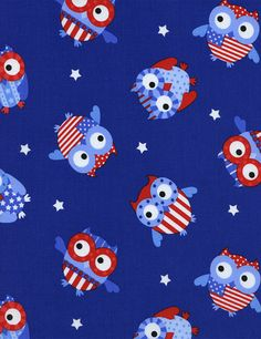 Sale FABRIC All AMERICAN OWLS Patriotic by DorothyPrudieFabrics, $4.49
