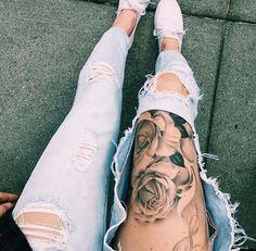 Leg tattoo, rose tattoo, women's tattoo, tattoo lovers