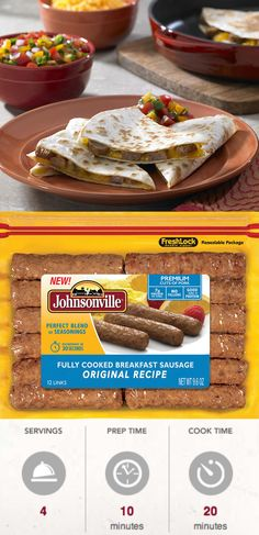 These Breakfast Sausage Quesadillas are ready in a jiff! Flour tortillas are filled with Johnsonville Fully Cooked Sausage, cheddar cheese and topped with salsa and sour cream! Yum! #MorningHacks