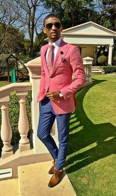 2015 was also a year of jackets at . We introduced the chinos with bold Blazers, paire. Blue Blazer Outfit Men, Blazer Outfits Men, Colour Blocking Fashion, Color Blocking Outfits, Grey Suit Men, Mens Suits, African Men Fashion, Mens Fashion, Man Dressing Style