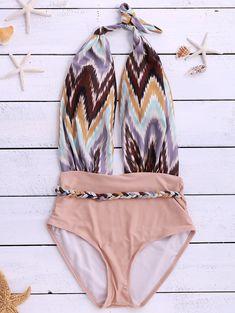 Stylish Halter Backless Printed Spliced Women's Swimwear